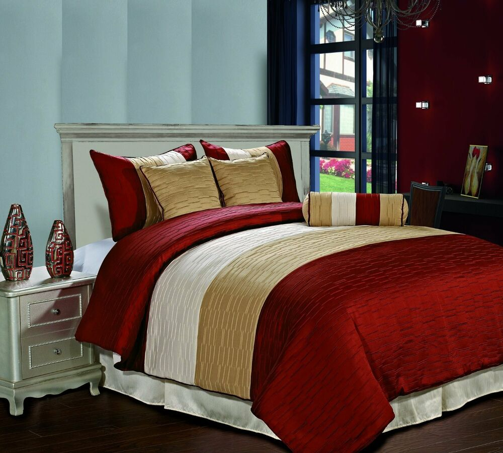Amber Queen Size Bed 7pc Jacquard Stripes Comforter Set