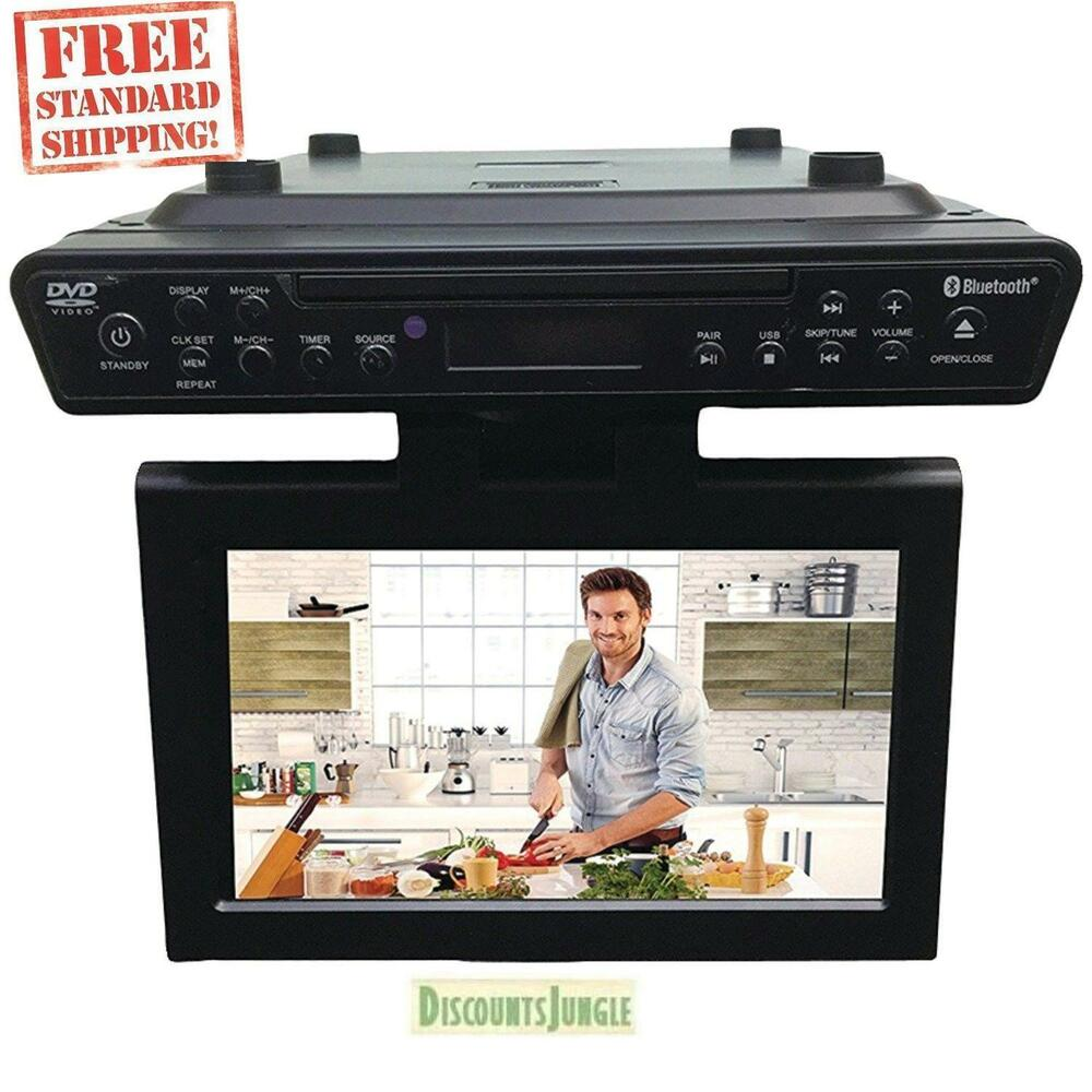 under kitchen cabinet tv dvd cd player radio new sylvania skcr2706bt 10 2 quot cabinet kitchen tv w 27582