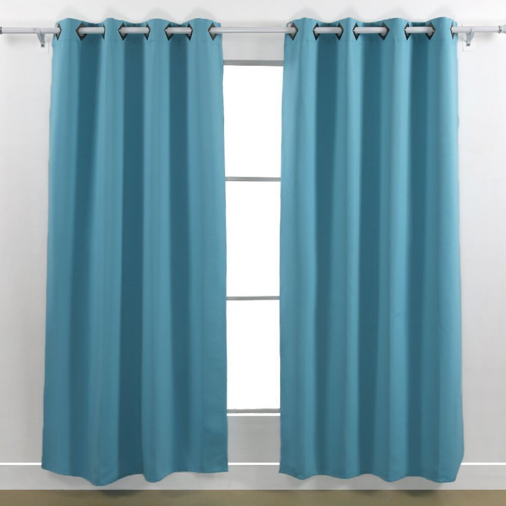 2 TURQUOISE PANEL MICROFIBER BLACKOUT GROMMET WINDOW