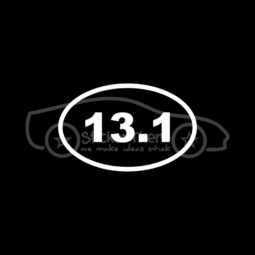 13 1 marathon sticker oval sticker window decal vinyl run