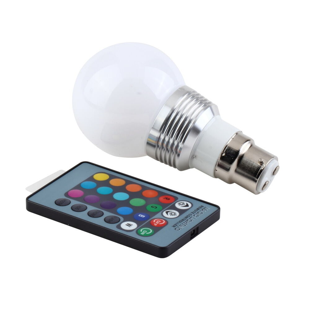 B22 3w 16 Colors Changing Rgb Led Light Bayonet Bulb Remote Control Globe Lamp D Ebay