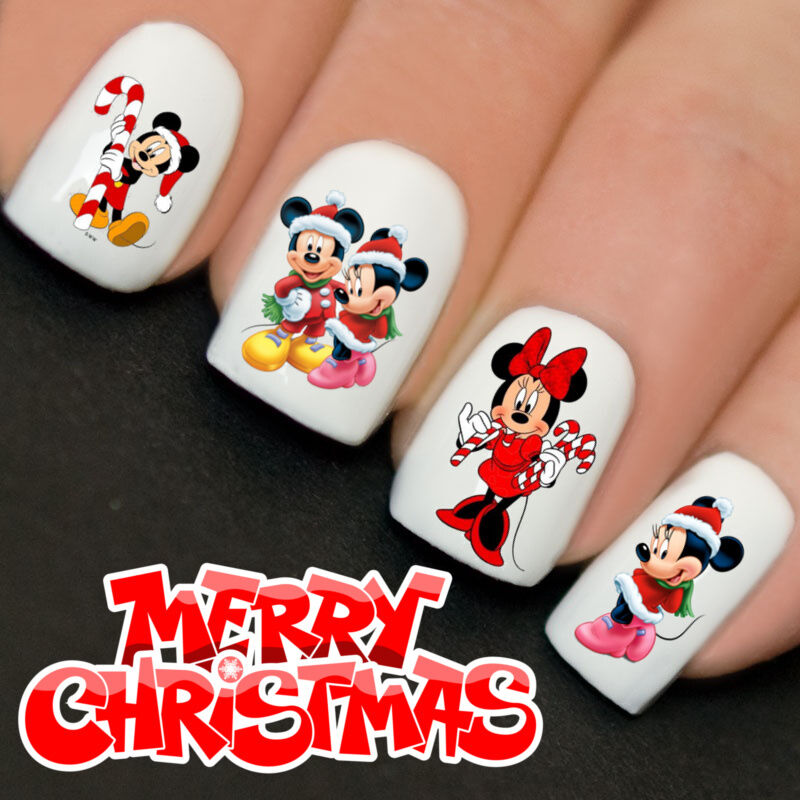 Nails Wraps Nail Art Water Transfers Decals Christmas Minnie Mickey Candy Yd760 Ebay