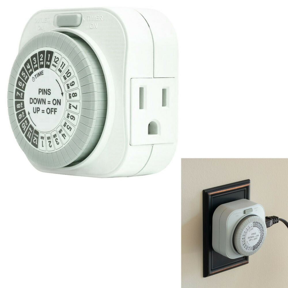 Lighting Outlets: 24 Hour Daily Mechanical Outlet Light Timer Automatic