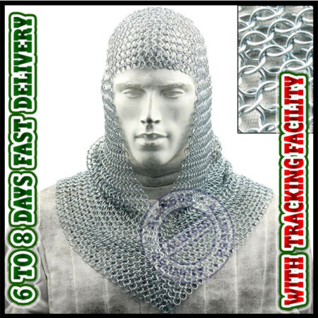 img-Best New Year gifts ~ Butted Aluminum Chainmail Coif Chain Mail Hood v-neck