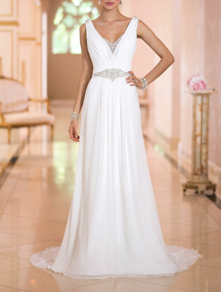 Sexy V Neck Beach Brial Wedding Dress Gown 2016 New Stock