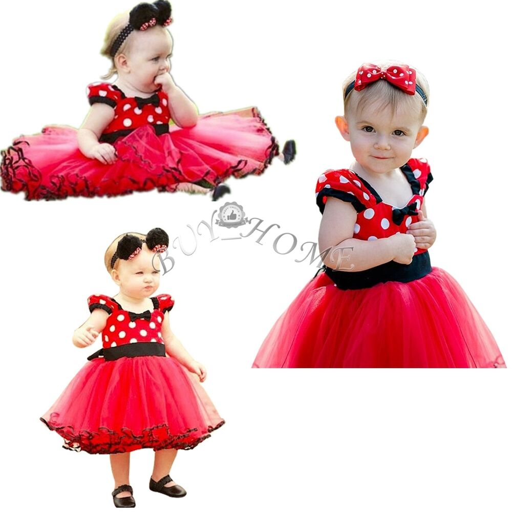 christmas kids girls baby toddler minnie mouse outfits party costume tutu dress ebay. Black Bedroom Furniture Sets. Home Design Ideas