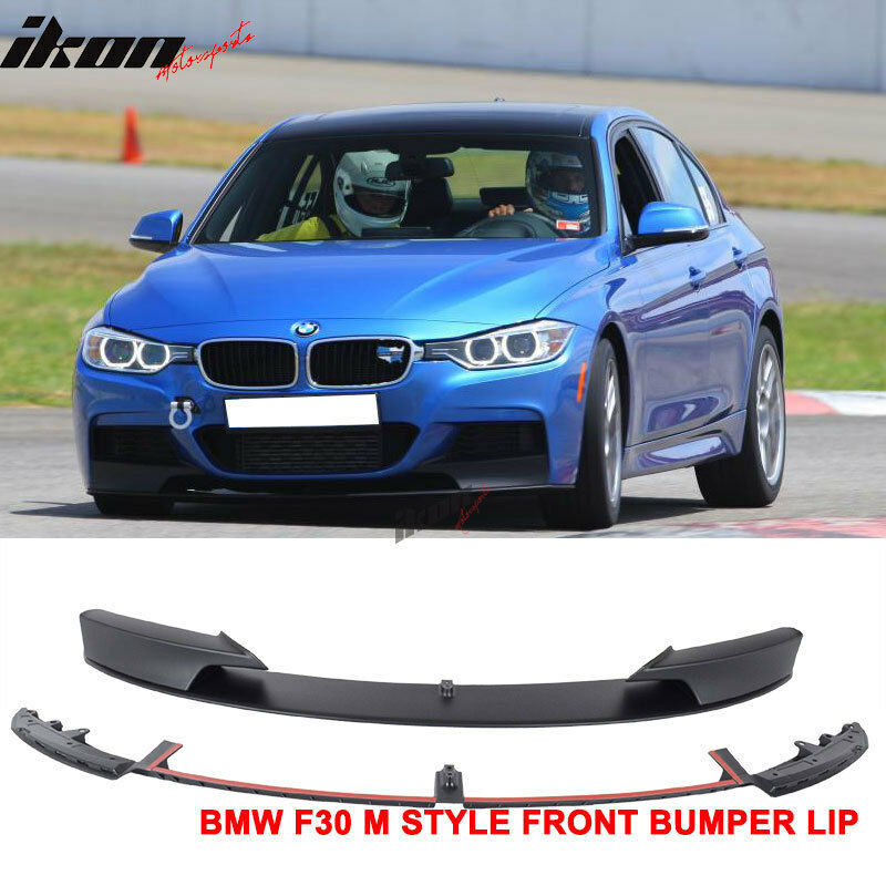 12 16 bmw f30 3 series m style front bumper lip unpainted black pp ebay. Black Bedroom Furniture Sets. Home Design Ideas
