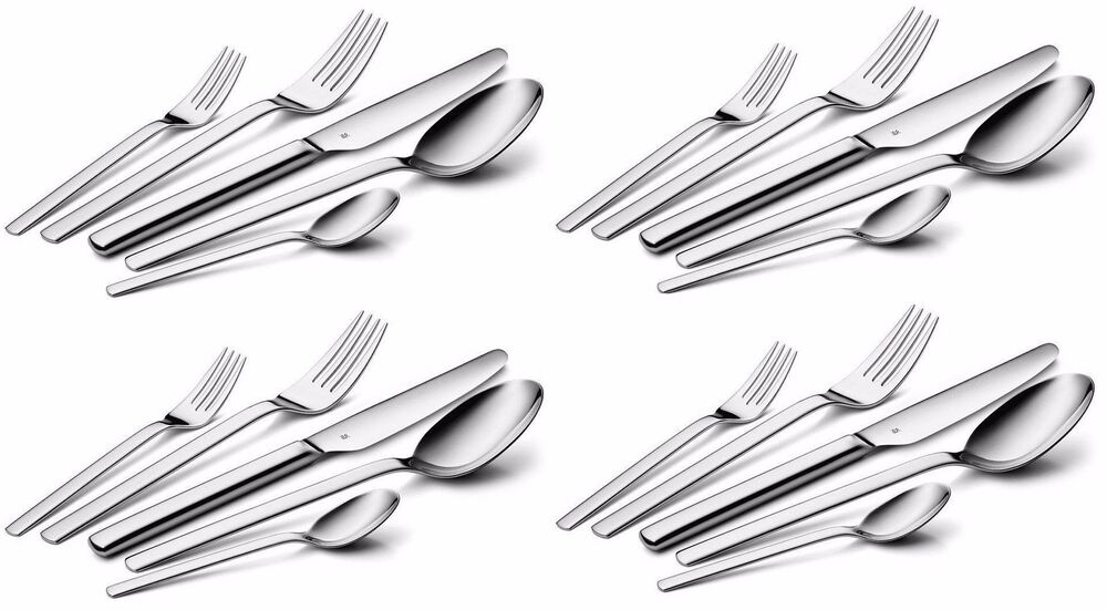 wmf dune 20 piece cromargan 18 10 stainless flatware set service for four ebay. Black Bedroom Furniture Sets. Home Design Ideas