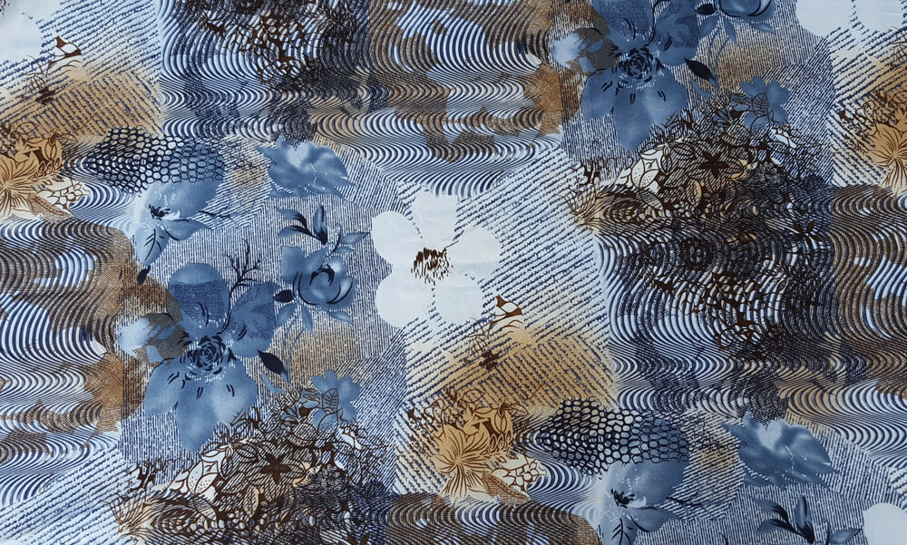 Cotton Twill Spandex Blue Brown Flower Print Fabric By ...