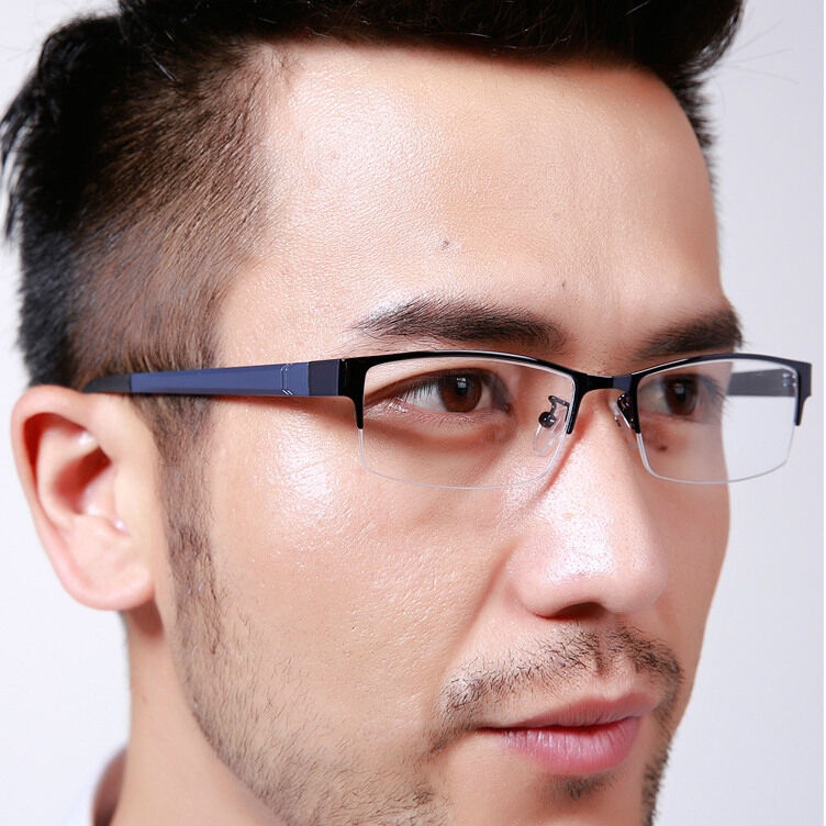 Men s European Eyeglass Frames : Men Women Metal Half rimless Glasses Optical Eyeglasses ...