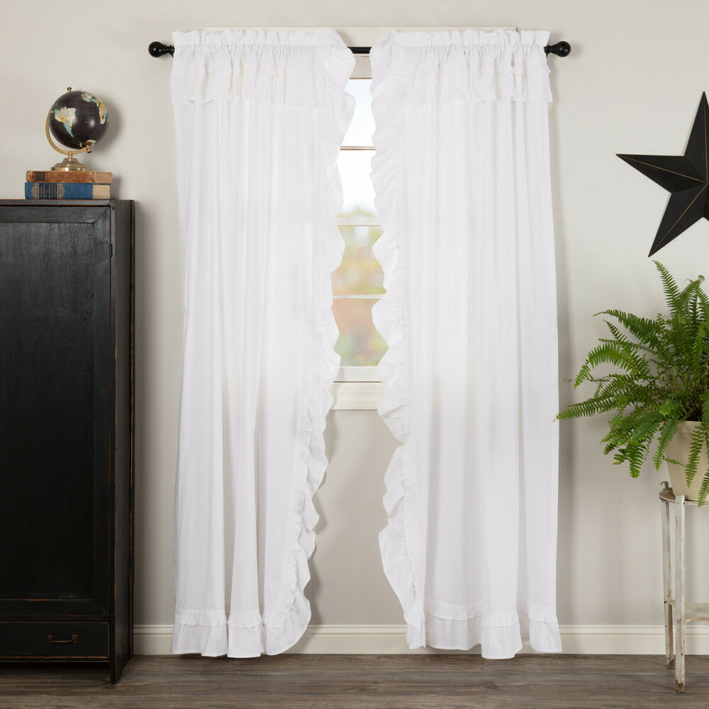 "Burlap Natural With Black Stars 84"" Panel Set CURTAINS"