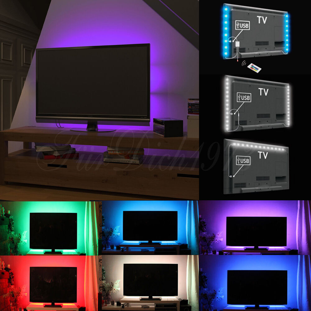 usb 90cm 2x50cm einfarbig rgb smd 5050 led strip f r tv hintergrund beleuchtung ebay. Black Bedroom Furniture Sets. Home Design Ideas