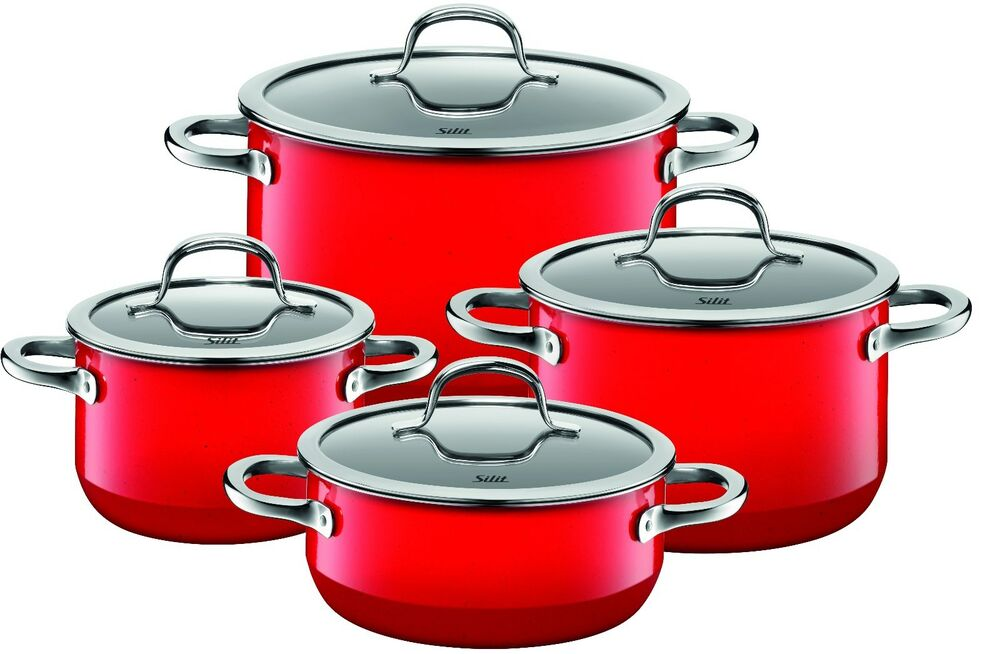 wmf silit passion 8 piece cookware set red made in germany ebay. Black Bedroom Furniture Sets. Home Design Ideas