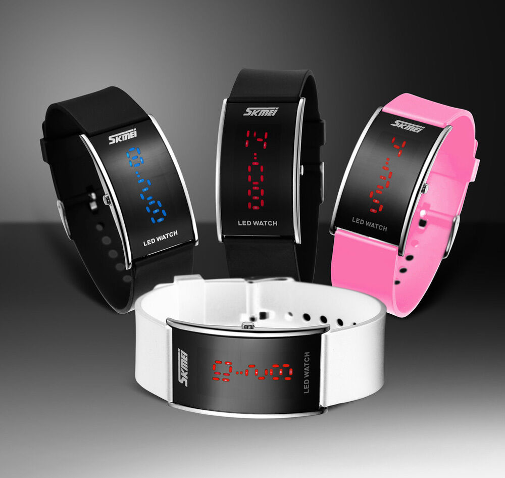 Fashion silicone led sport men womens watch bracelet touch digital wrist watch ebay for Watches digital