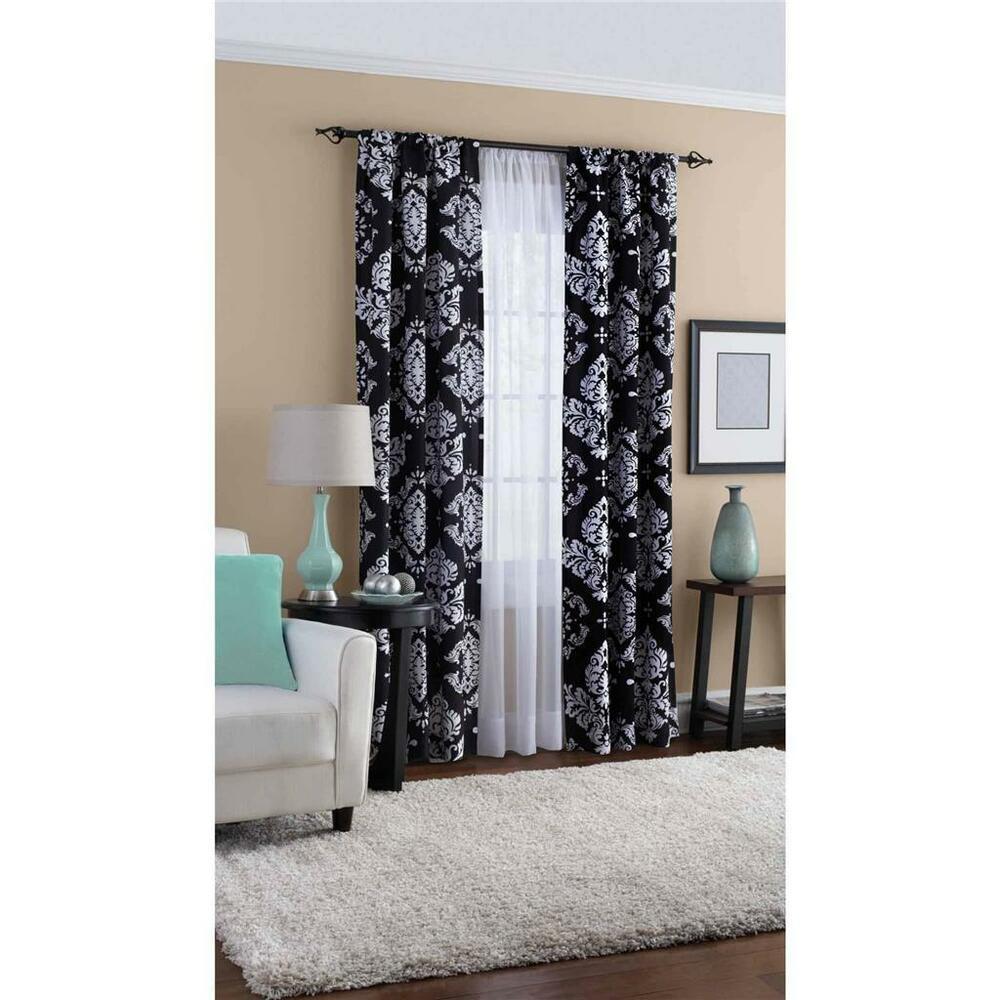 Elegant Black White French Country Damask Curtains Window