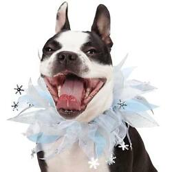 Aria Shimmer Nights Dog Pet Scrunchy Neck COLLAR Snowflake Holiday Silver S M L