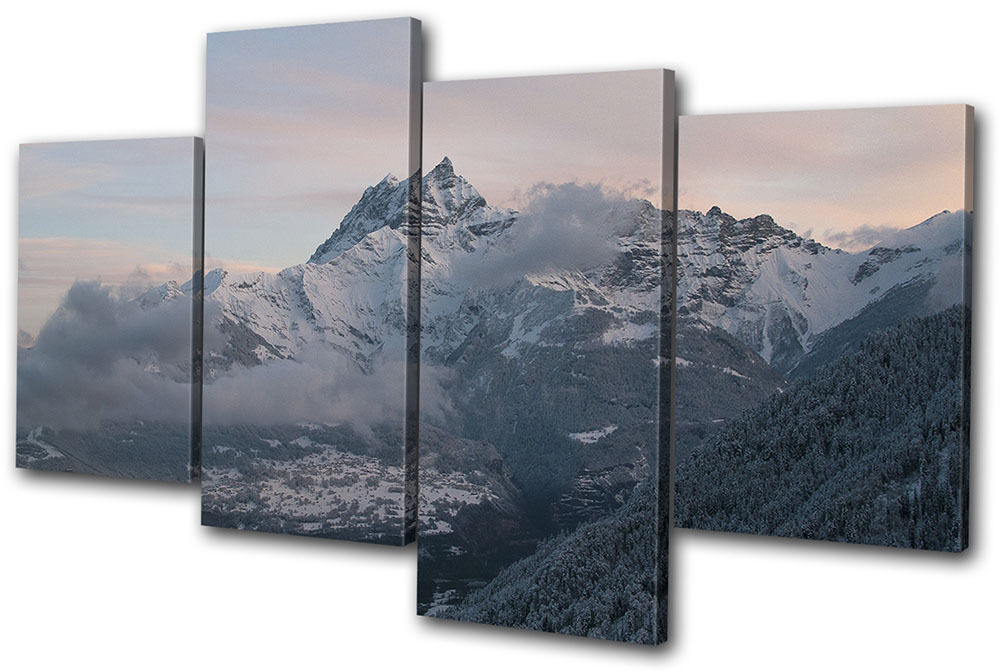 Wall Art Multi Canvas : Mountains winter sunset landscapes multi canvas wall art