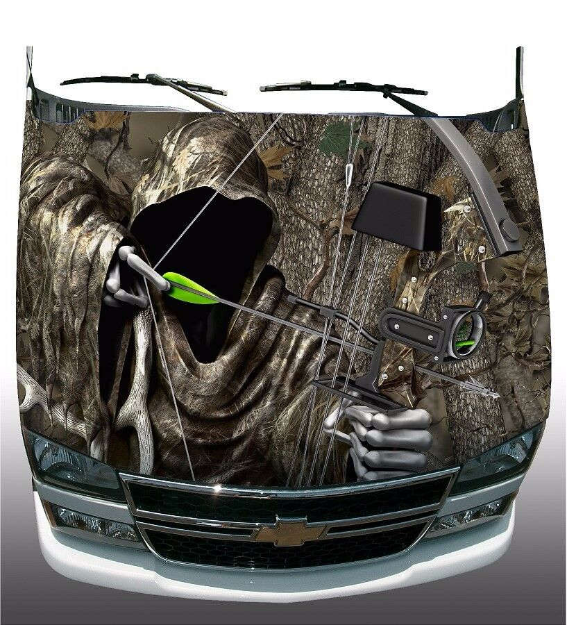 Forest Tree Camo Grim Reaper Bow Hunting Hood Wrap Sticker