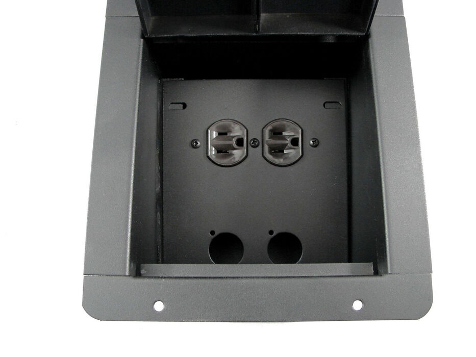 Recessed Floor Pocket Box Loaded Ac Duplex And Prepunched