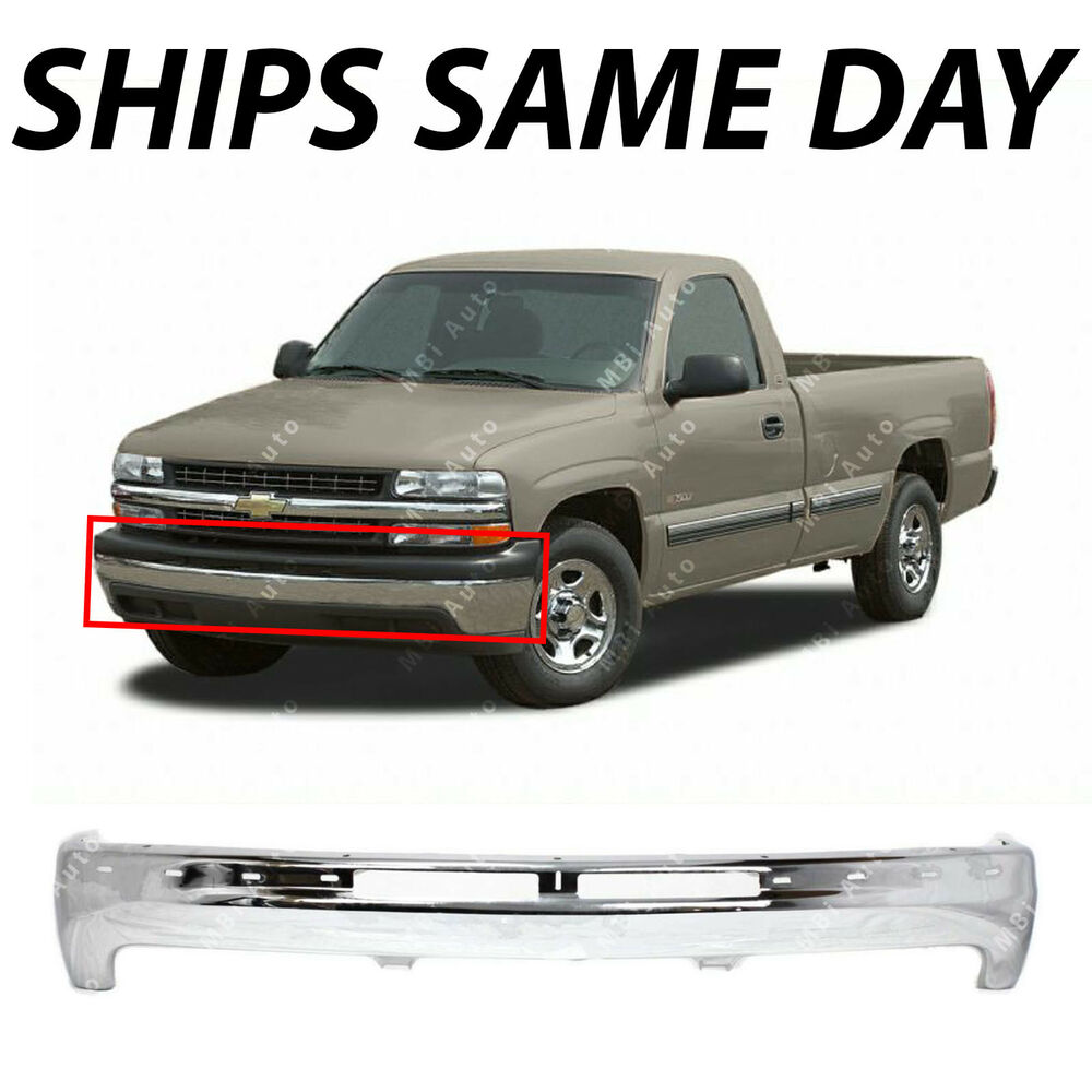 new chrome steel front bumper impact bar for 1999 2002 chevy silverado 99 02 ebay. Black Bedroom Furniture Sets. Home Design Ideas