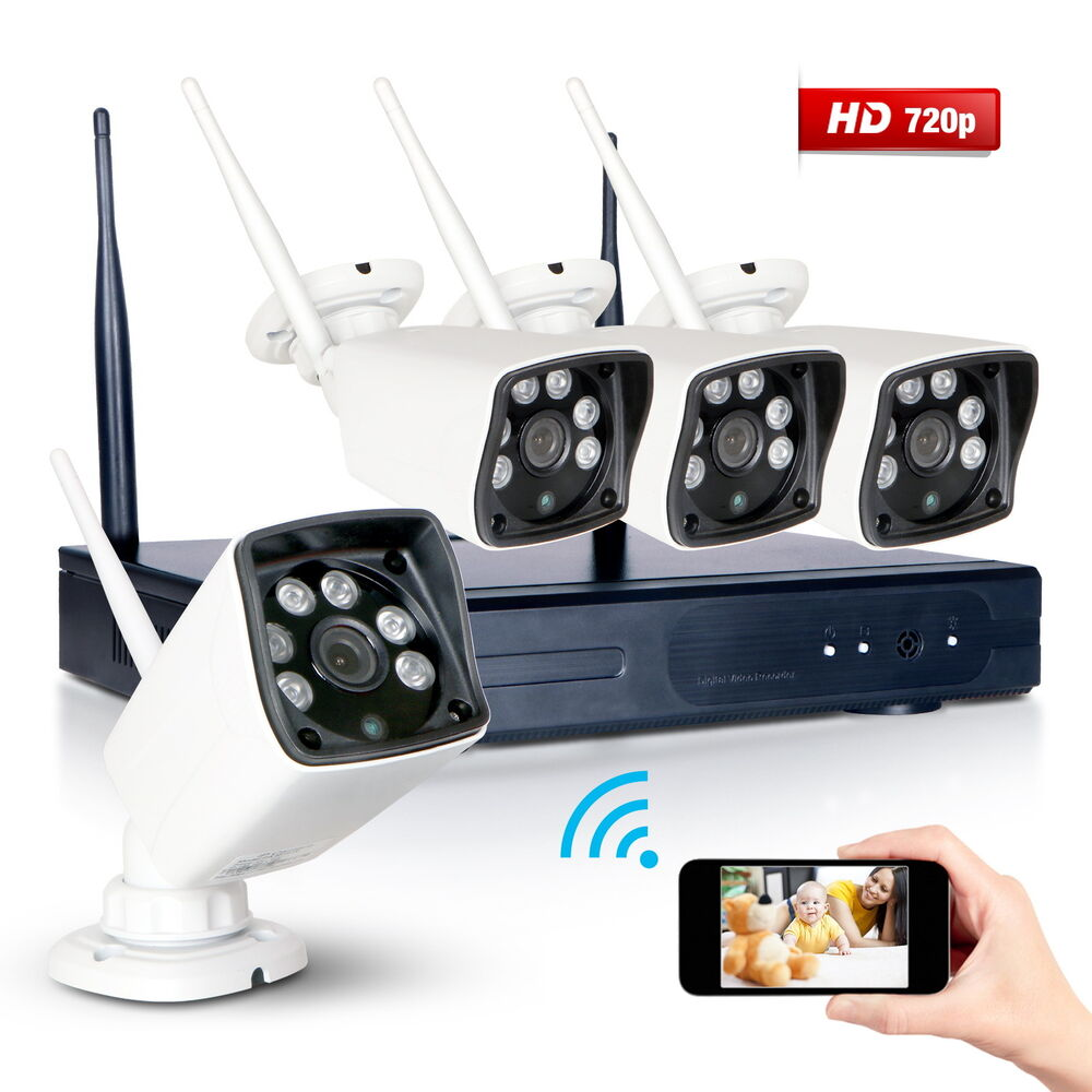 Exterior Home Security Cameras: Wireless 4CH NVR 720P 1800TVL Outdoor CCTV Camera Home