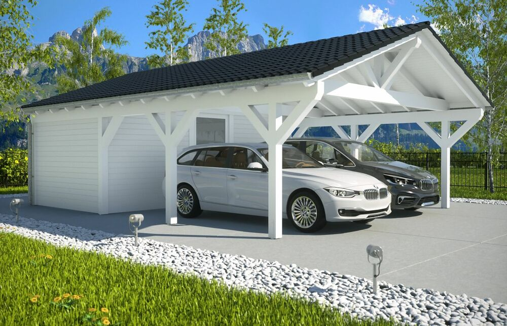 neu premium spitzdachcarport mit ger teraum x carport ab werk ebay. Black Bedroom Furniture Sets. Home Design Ideas