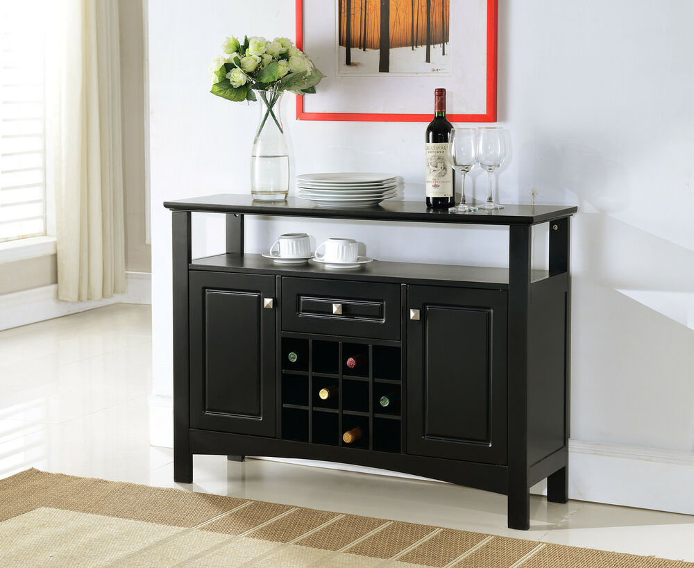 Black Wood Buffet Cabinet ~ Kings brand black finish wood wine rack buffet cabinet