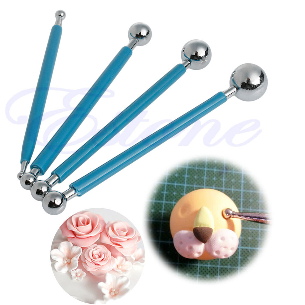 4x Fondant Cake Flower Metal Ball Modelling Pastry Decor Sugarcraft Cutter Tools | eBay