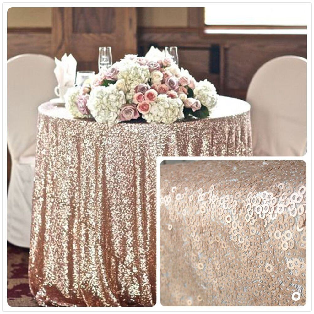 Wholesale Wedding: 90'' Round Champagne Sequin Tablecloth,wholesale Wedding