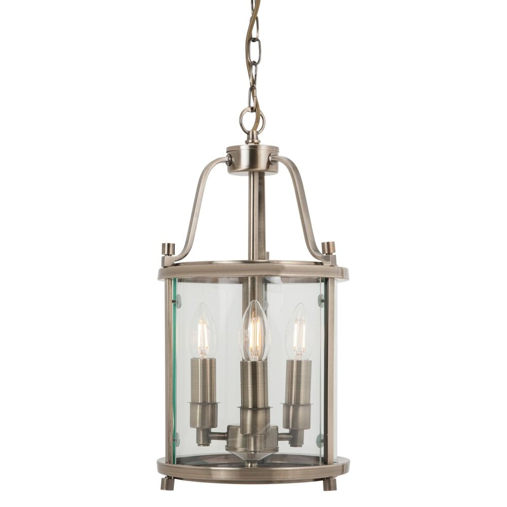 Traditional 3 Light Solid Brass Round Hall Ceiling Lantern