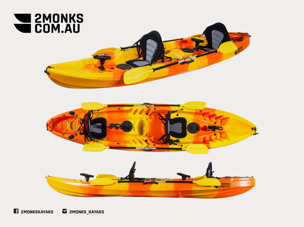 Fishing kayak 2 5 double sit on 3 7m incl 2 x rod holders for Double fishing kayak
