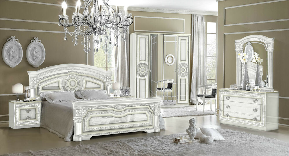Italian Bedroom Furniture Uk aida versace design italian 6 item bedroom set in white/silver | ebay