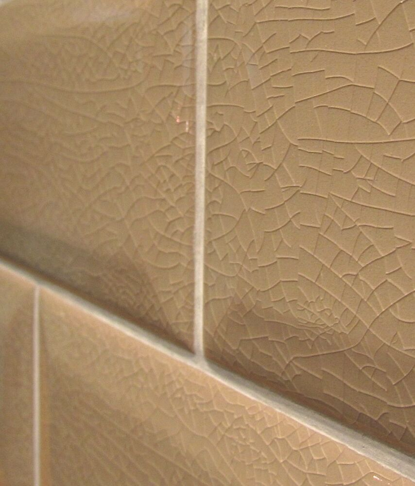3x6 Light Brown Crackled Beveled Ceramic Tile Backsplash Wall One Piece Sample Ebay