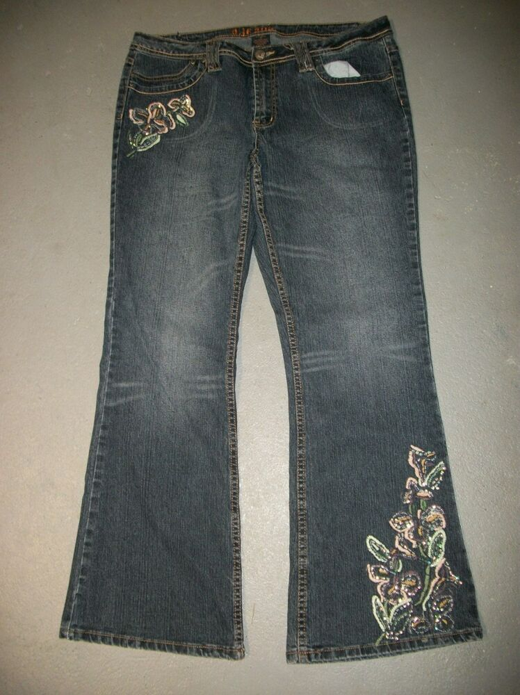 D jean sequin floral embroidered denim bootcut jeans