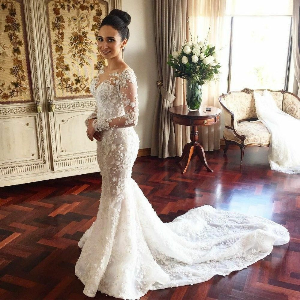 Mermaid Lace Wedding Gown: Vintage Long Sleeve Mermaid Wedding Dresses Appliques Lace