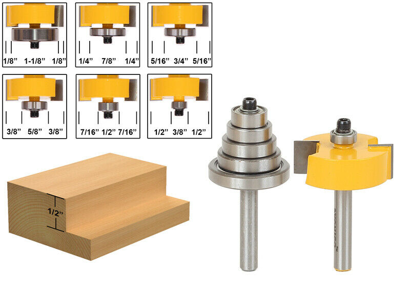 Rabbet Router Bit With 6 Bearings Set 1 2 Quot H 1 4 Quot Shank
