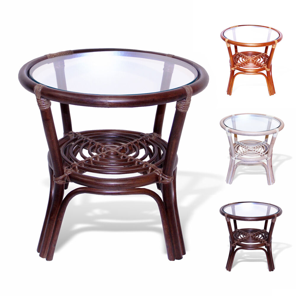 Leo handmade rattan wicker small round accent end coffee table with glass top ebay Coffee and accent tables