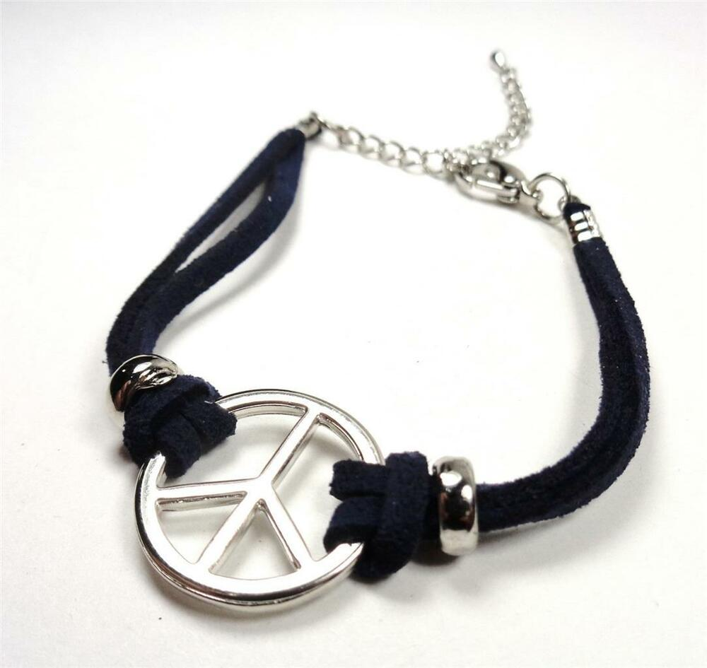 Silver Band Bracelet: NAUTICAL LEATHER PEACE SIGN SURF & SAND BEACH DK BLUE BAND