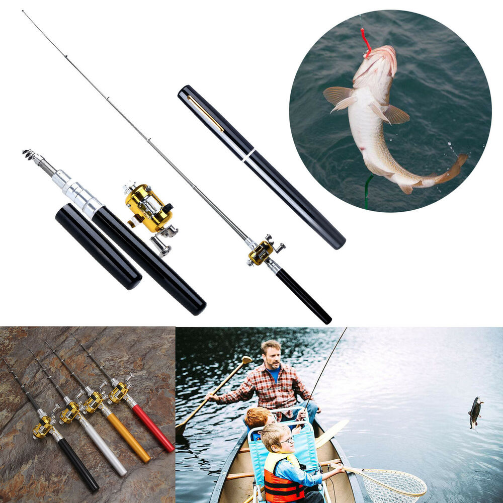 Telescopic mini portable pocket fish pen aluminum alloy for Mini pen fishing rod