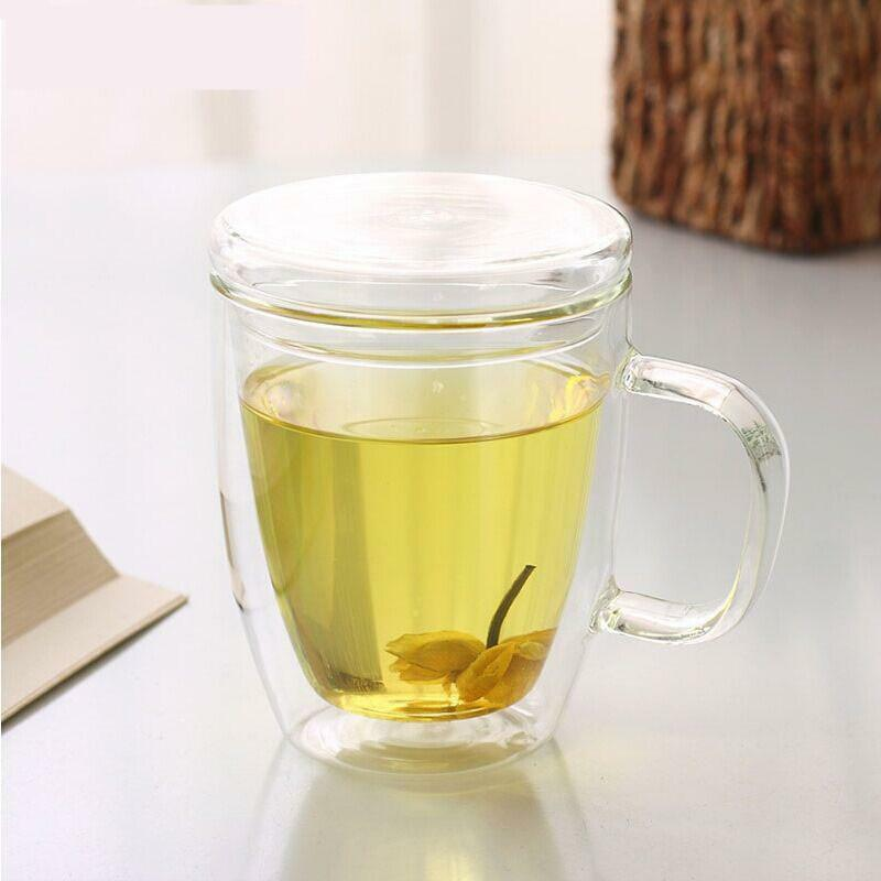 heat resistant double layer milk tea glass cup with handle lid coffee mug cups ebay. Black Bedroom Furniture Sets. Home Design Ideas