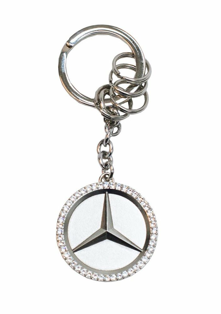 Mercedes benz star key ring w swarovski crystals ebay for Mercedes benz chain