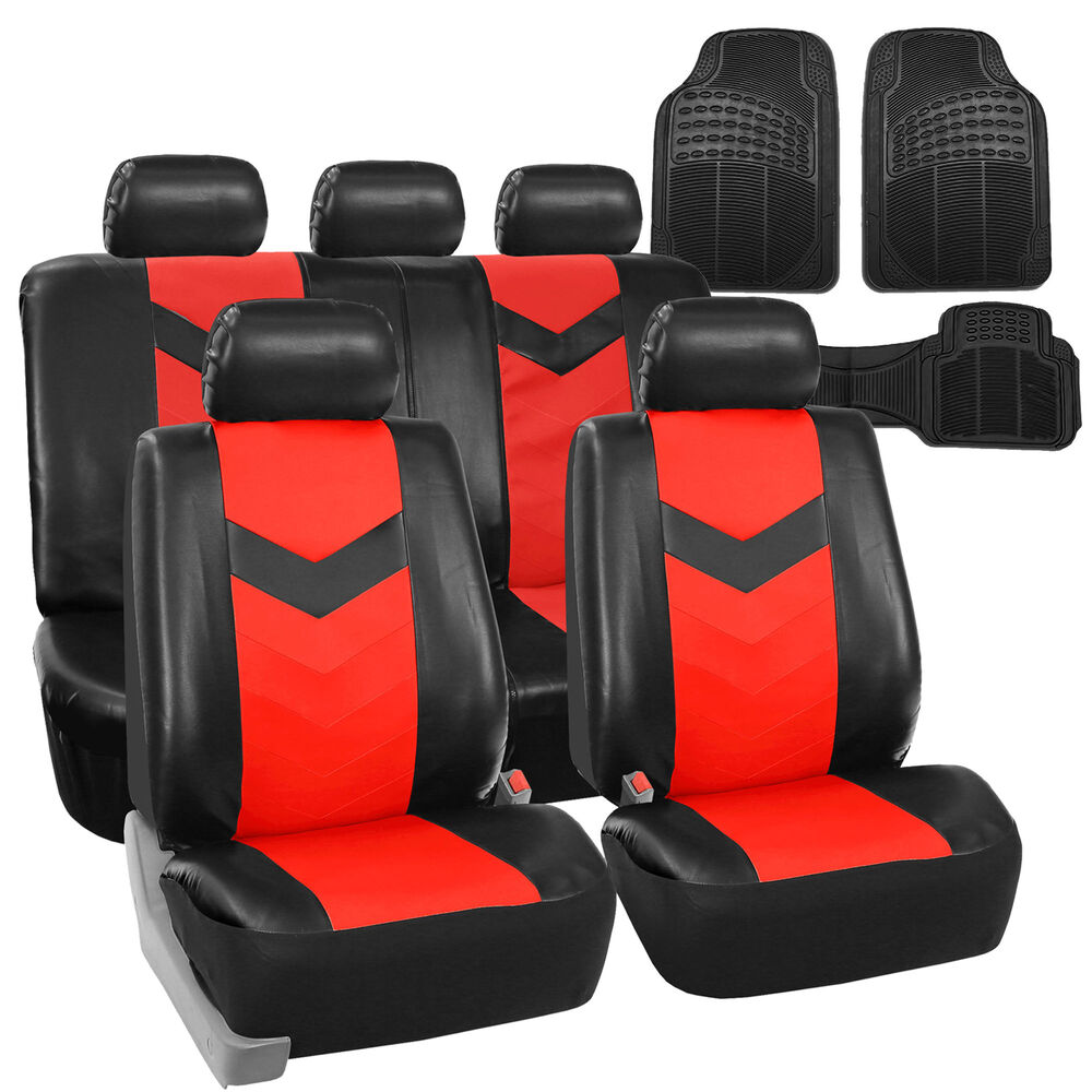 Faux Leather Car Seat Covers For Auto Red W Heavy Duty