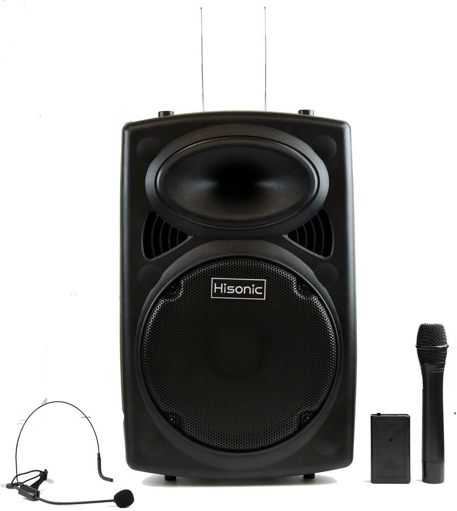 hisonic hs420 rechargeable portable pa system with dual wireless microphones ebay. Black Bedroom Furniture Sets. Home Design Ideas