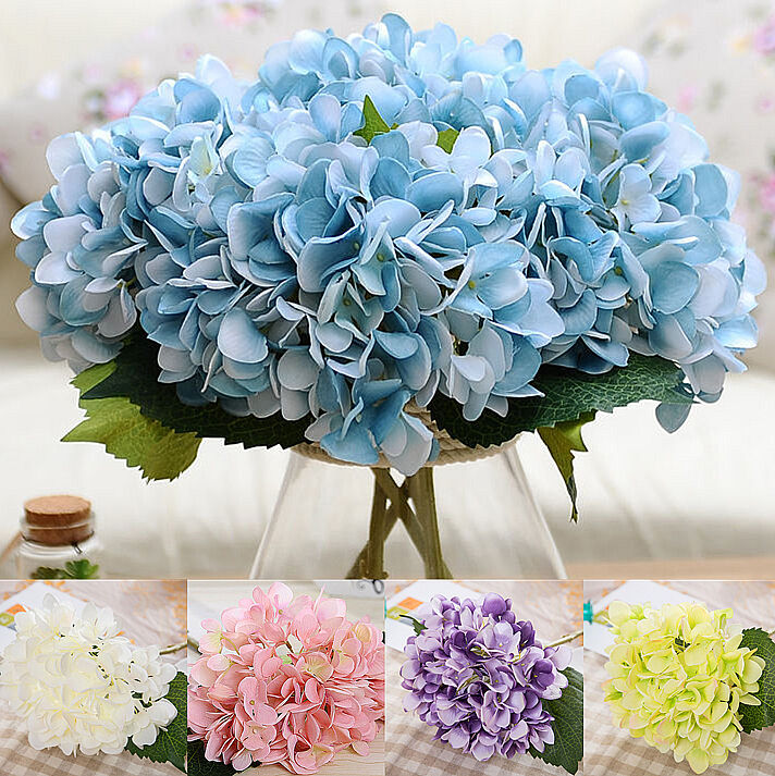 home decorating ideas with artificial flowers artificial hydrangea silk flower bunch bouquet garden 13414