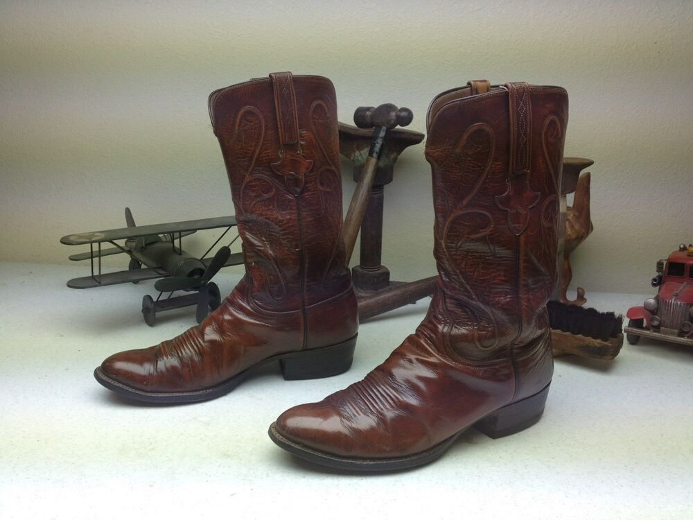 Classic Lucchese Brown Leather Distressed Western Engineer