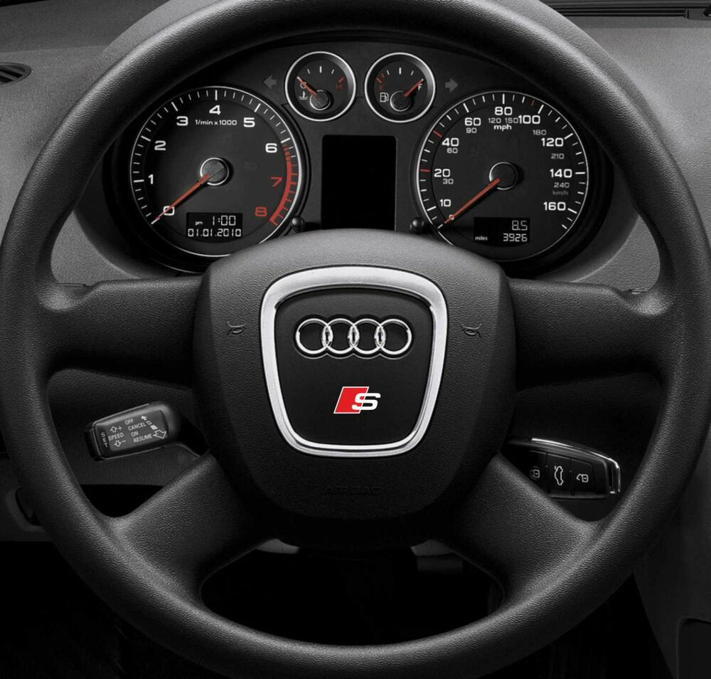 2x Audi S-line Steering Wheel Sticker Badge Emblem Logo