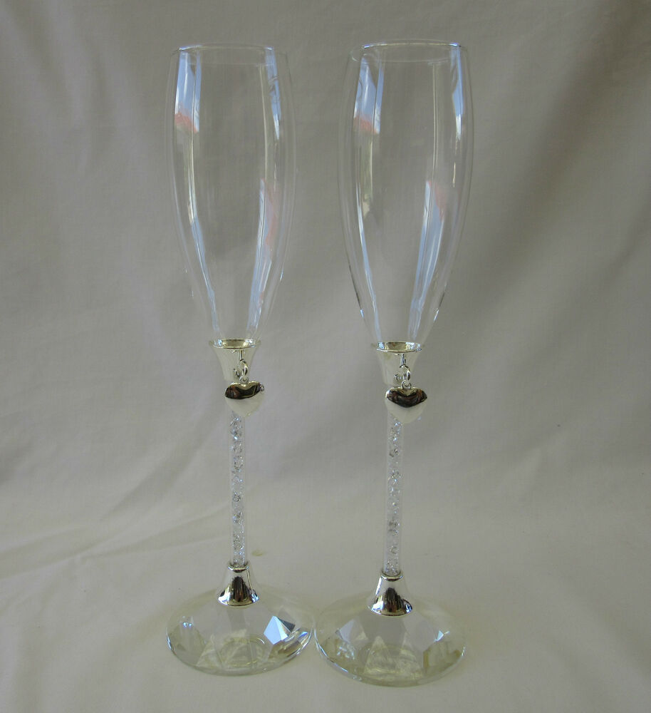 Wedding Gift Champagne Flutes: WEDDING TOASTING GLASSES SILVER HEARTS CRYSTAL STEMS GIFT