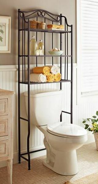 Bathroom Over Toilet Rack : Bathroom cabinet over the toilet storage rack space saver