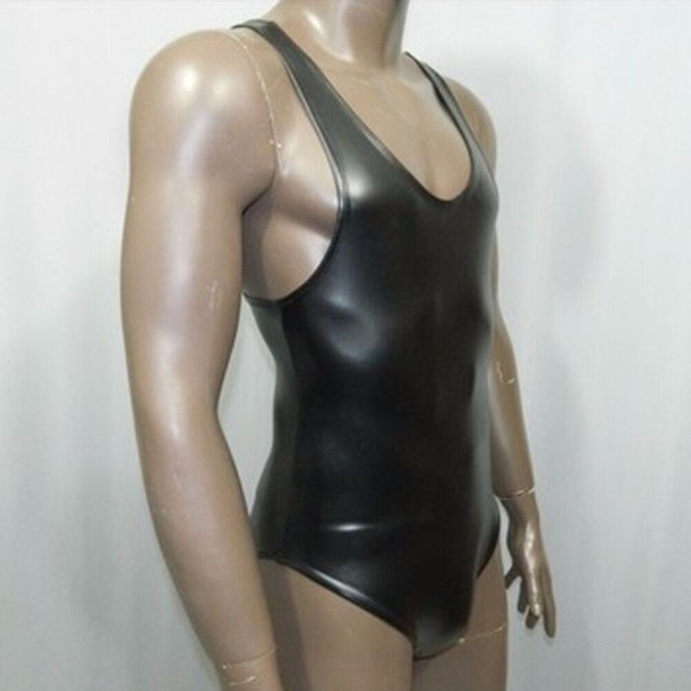 Mens Waterproof Metallic Bodysuit Top Spandex Latex