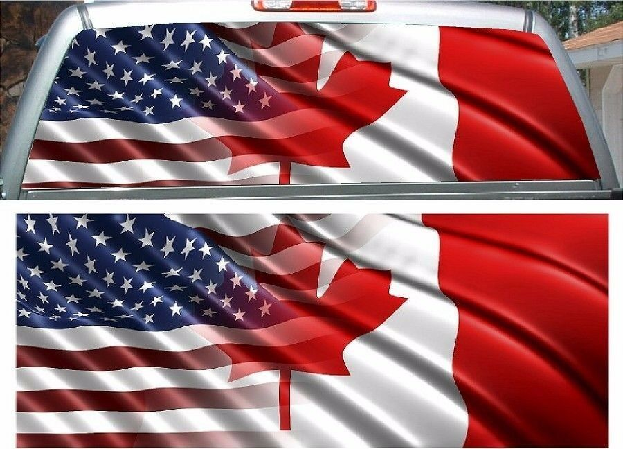 American Canadian Flag Rear Window View Thru Graphic Decal